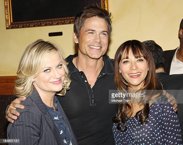 Amy Poehler Rob Lowe and Rashida Jones attend the 'Parks And Recreation' 100th episode celebration held at CBS Studios Radford on October 16 2013 in...