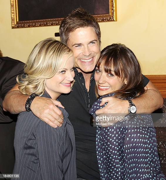 Amy Poehler Rob Lowe and Rashida Jones attend the Parks And Recreation 100th episode celebration held at CBS Studios Radford on October 16 2013 in...