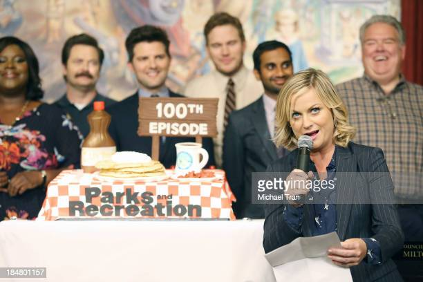 Amy Poehler speaks at the 'Parks And Recreation' 100th episode celebration held at CBS Studios Radford on October 16 2013 in Studio City California