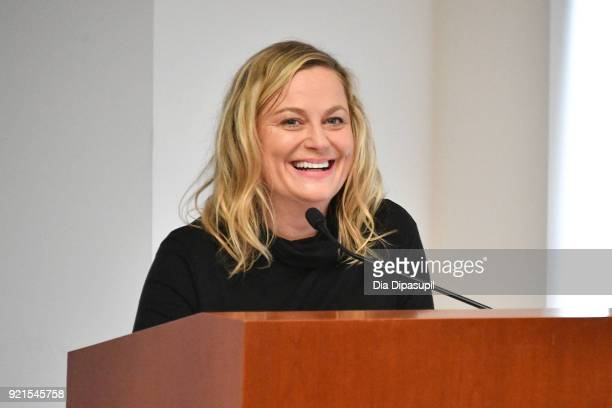 Amy Poehler speaks during the One Fair Wage Event at the Rockefeller Foundation on February 20 2018 in New York City