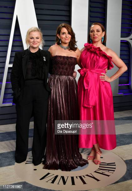 Amy Poehler Tina Fey and Maya Rudolph attend the 2019 Vanity Fair Oscar Party hosted by Radhika Jones at Wallis Annenberg Center for the Performing...