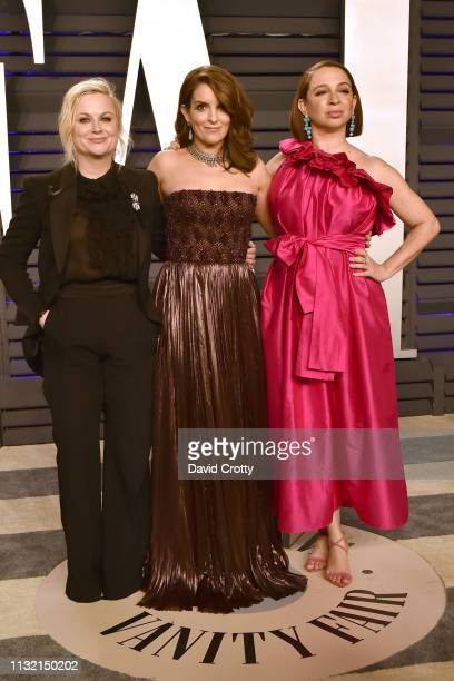 Amy Poehler Tina Fey and Maya Rudolph attend the 2019 Vanity Fair Oscar Party at Wallis Annenberg Center for the Performing Arts on February 24 2019...