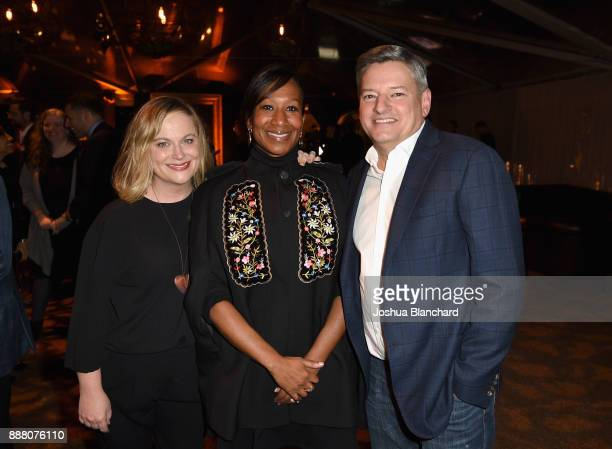 Amy Pohler Ambassador Nicole Avant and Ted Sarandos attend Norman Lear's 95th Birthday Celebration on December 7 2017 in Los Angeles California
