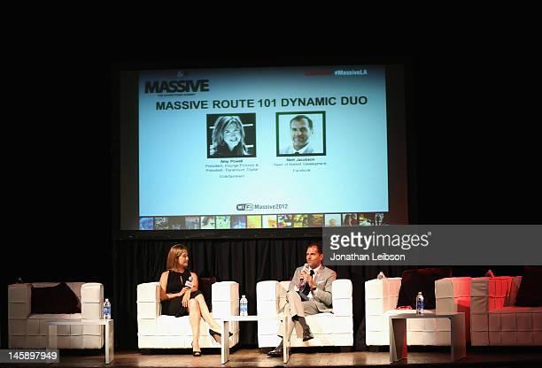 Amy Powell President Insurge Pictures President Paramount Digital Entertainment and Matt Jacobson Head of Market Development Facebook speak onstage...