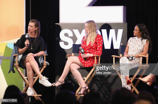 Amy Powell President of Paramount Television actors Dakota Fanning and Karrueche Tran speak onstage during Turner Leading Ladies during SXSW at...