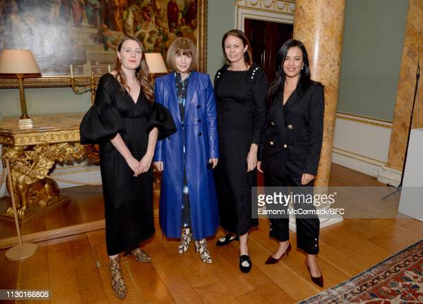 Amy Powney Anna Wintour Caroline Rush and Liz Bonnin attend the BFC x BBC Earth x Mother of Pearl Present Positive Fashion during London Fashion Week...