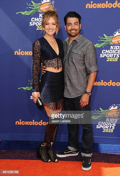 Amy Purdy and guest attend the Nickelodeon Kids' Choice Sports Awards at UCLA's Pauley Pavilion on July 16 2015 in Westwood California
