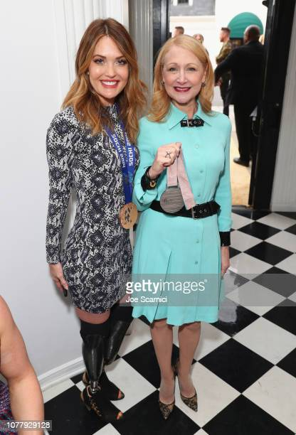 Amy Purdy and Patricia Clarkson attend The 6th Annual 'Gold Meets Golden' Brunch hosted by Nicole Kidman and Nadia Comaneci and presented by CocaCola...