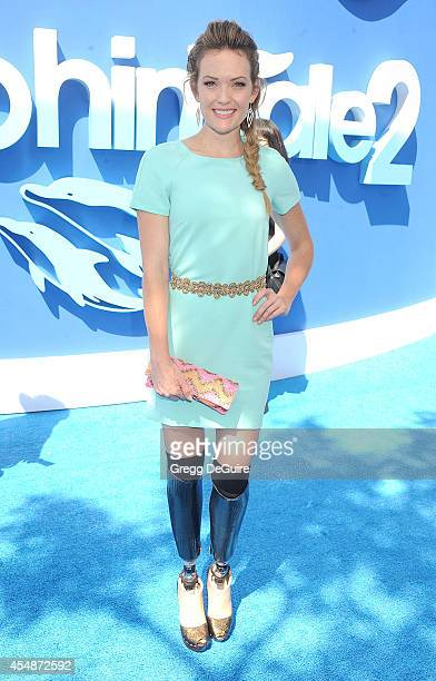 Amy Purdy arrives at the Los Angeles premiere of 'Dolphin Tale 2' at Regency Village Theatre on September 7 2014 in Westwood California