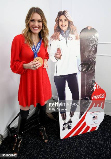 Amy Purdy attends GOLD MEETS GOLDEN The 5th Anniversary Refreshed by CocaCola Globes Weekend Gets Sporty with Nicole Kidman and Athletic Royalty on...