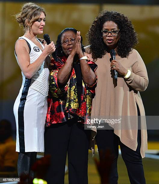 Amy Purdy Estella Pyfrom and Oprah onstage at Oprahs The Life You Want Weekend Estella Pyfrom founder and CEO of Estella's Brilliant Bus is the Miami...