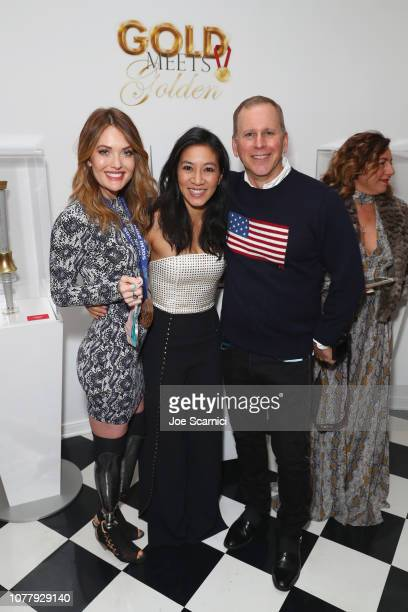 Amy Purdy Michelle Kwan and Scott Orlin attend The 6th Annual 'Gold Meets Golden' Brunch hosted by Nicole Kidman and Nadia Comaneci and presented by...