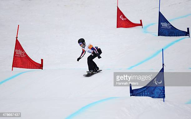 Amy Purdy of the United States competes during the Women's Para Snowboard Cross Standing on day seven of the Sochi 2014 Paralympic Winter Games at...