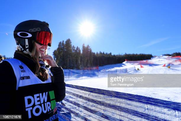 Amy Purdy of the United States stands at the finish line after competing in the Women's Adaptive Snowboard Final Presented by Toyota during Day 1 of...