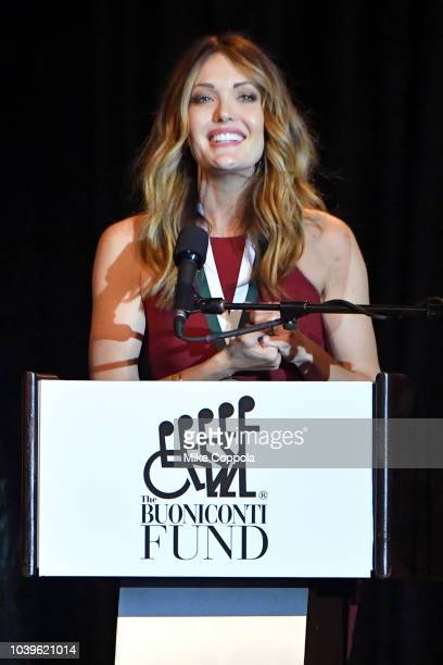 Amy Purdy speaks on stage during the 33rd Annual Great Sports Legends Dinner which raised millions of dollars for the Buoniconti Fund to Cure...