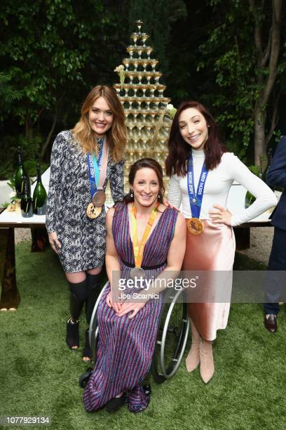 Amy Purdy Tatyana McFadden and Meryl Davis attend The 6th Annual 'Gold Meets Golden' Brunch hosted by Nicole Kidman and Nadia Comaneci and presented...