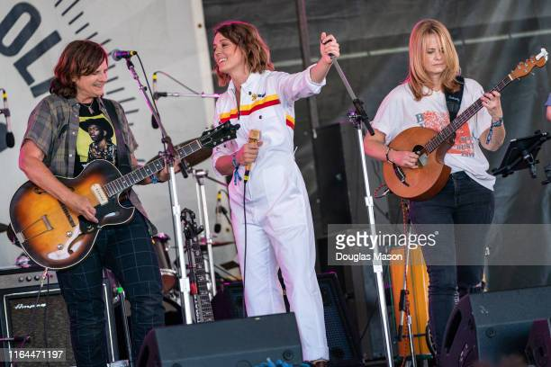 Amy Ray Brandi Carlile and Alison Brown performs during the 60th annual Newport Folk Festival 2019 at Fort Adams State Park on July 26 2019 in...