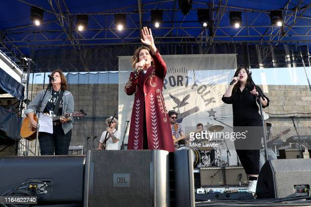 Amy Ray Brandi Carlile and Lucy Dacus perform as part of the Collaboration during day two of the 2019 Newport Folk Festival at Fort Adams State Park...