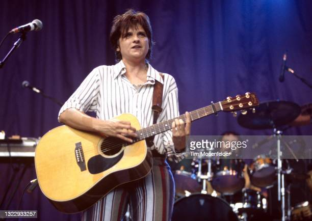 Amy Ray of Indigo Girls performs during the Lilith Fair at Shoreline Amphitheatre on June 24, 1998 in Mountain View, California.