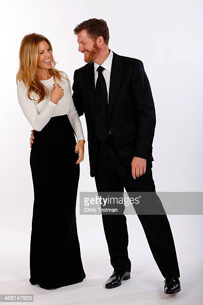 Amy Reimann and Dale Earnhardt Jr pose for a portrait during the NASCAR Nationwide Series and NASCAR Camping World Truck Series Banquet at Trump...