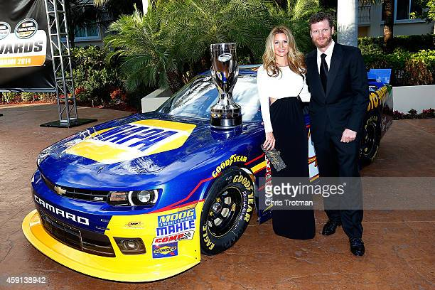 Amy Reimann and NASCAR driver Dale Earnhardt Jr poses for a portrait during the NASCAR Nationwide Series and NASCAR Camping World Truck Series...