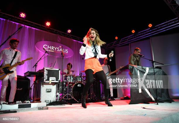 Amy Renee Heidemann and Nick Noonan of Karmin perform onstage during the 13th Annual Chrysalis Butterfly Ball sponsored by Audi Kayne Anderson and...