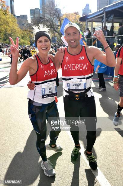 Amy Robach and Andrew Shue cross the finish line at the 2019 TCS New York City Marathon on November 03 2019 in New York City