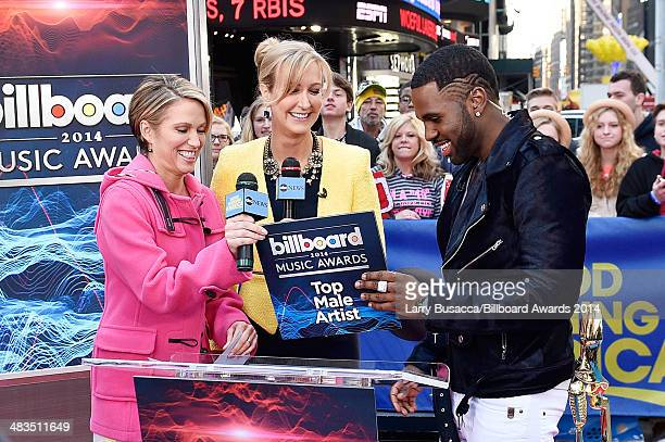 Amy Robach and Lara Spencer look on as Jason Derulo announces the finalists for the 2014 Billboard Music Awards at ABC News' Good Morning America...