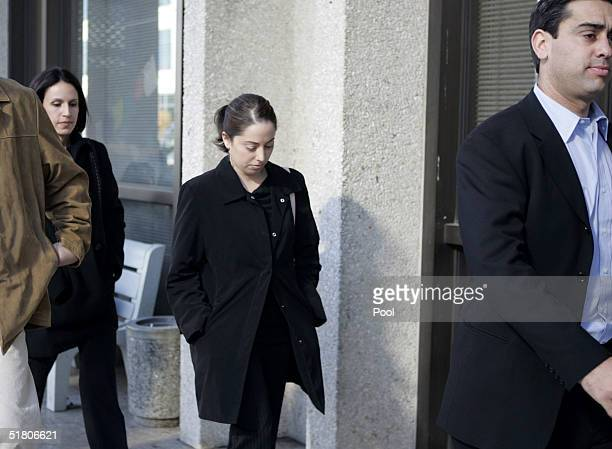 Amy Rocha and Brent Rocha sister and brother of murder victim Laci Peterson walk with Brent Rocha's wife Rose Marie Rocha as the arrive at the...