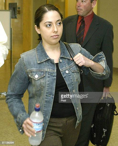 Amy Rocha sister of Laci Peterson arrives at the San Mateo County Superior Courthouse for the Scott Peterson trial August 2 2004 in Redwood City...