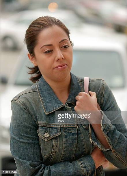Amy Rocha sister of Laci Peterson arrives at the San Mateo Superior Court October 4 2004 in Redwood City California The trial continues for Scott...