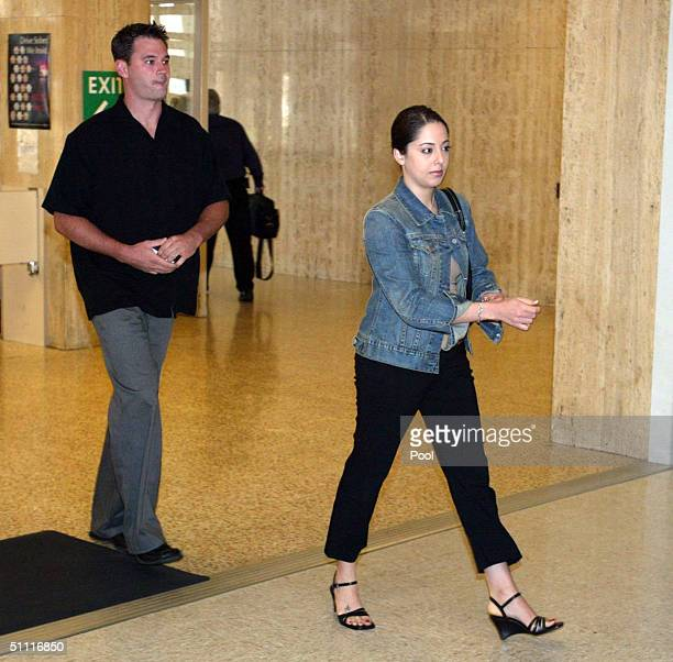 Amy Rocha sister of Laci Peterson arrives for the Scott Peterson double homicide trial at the San Mateo County Courthouse July 26 2004 in Redwood...