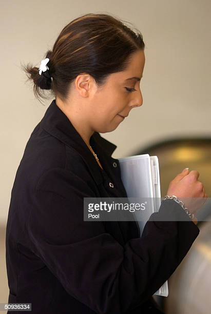 Amy Rocha sister of Laci Peterson makes her way to the courtroom at the San Mateo County Superior Courthouse June 7 2004 in Redwood City California...