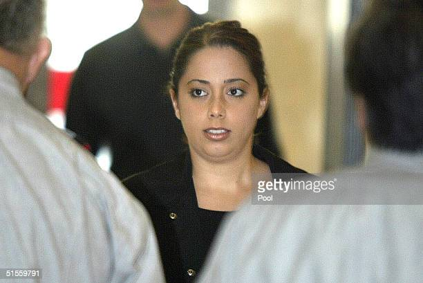 Amy Rocha sister of murder victim Laci Peterson walks through the security check as she arrives at the San Mateo County Courthouse in Redwood City...