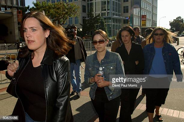 Amy Rocha the sister of Laci Peterson arrives with Peterson's friends at the San Mateo County Courthouse for a change of venue motion being made by...