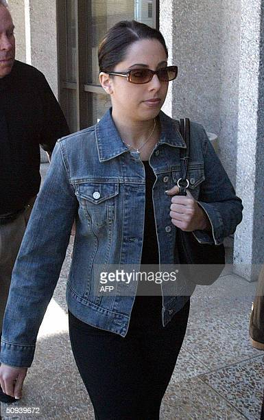 Amy Rocha the sister of Laci Peterson enters the lobby of the San Mateo Superior County Court House 08 June 2004 in Redwood City California Scott...
