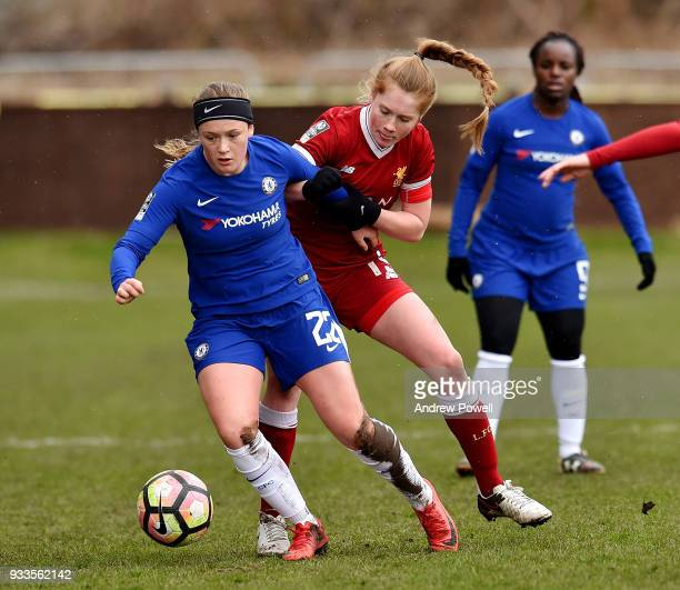 Amy Rodgers of Liverpool Ladies competes with Erin Cuthbert of Chelsea Ladies during the SSE Women's FA Cup Quarter Final match between Liverpool...