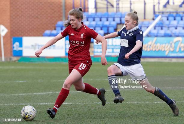 Amy Rodgers of Liverpool Women and Lucy Fitzgerald of Millwall Lionesses in action during the SSE Womens FA Cup game at Prenton Park on February 17...