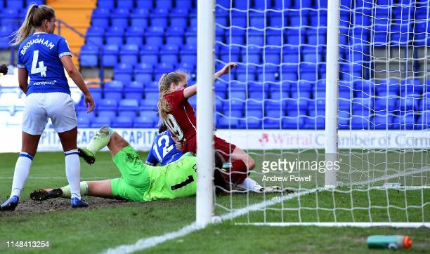 Amy Rodgers of Liverpool Women scoring the third goal during the WSL match between Liverpool Women and Everton Ladies at Prenton Park on May 11, 2019...