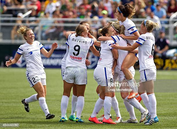 Amy Rodriguez of FC Kansas City celebrates after scoring a goal int he second half of the National Women's Soccer League Championship on August 31...