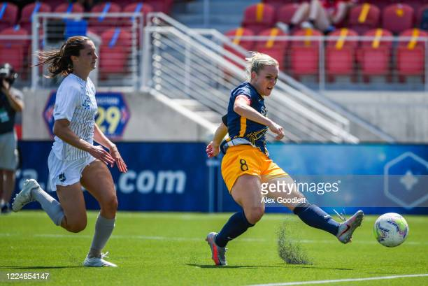 Amy Rodriguez of Utah Royals FC scores a goal during a game against the Sky Blue FC on day 4 of the NWSL Challenge Cup at Zions Bank Stadium on July...
