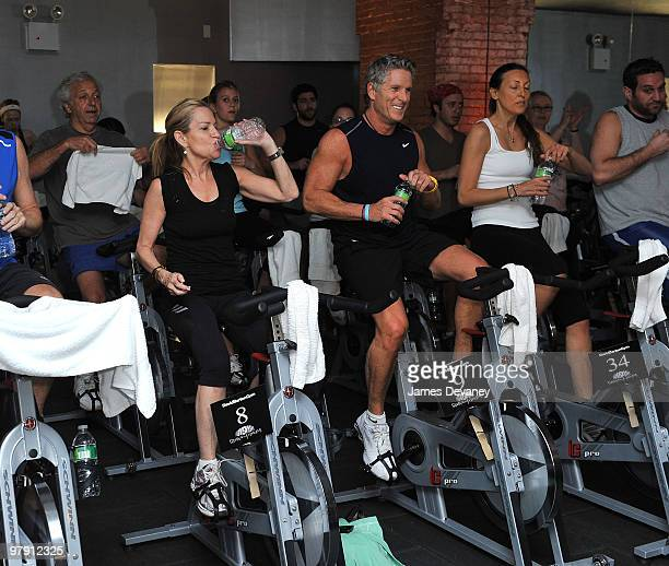 Amy Rosenblum and Donny Deutsch attend a spin class at David Barton Gym in Manhattan to raise money for Madison Square Garden's Garden of Dreams...