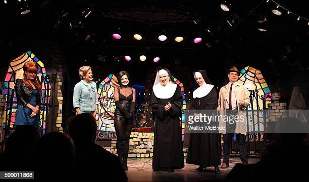 Amy Rutberg Jennifer Van Dyck Alison Fraser Charles Busch Julie Halston Jonathan Walker with the cast of 'The Divine Sister' during a Curtain Call at...