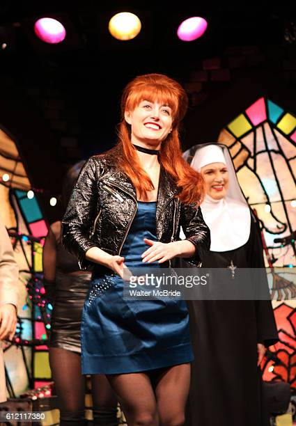 Amy Rutberg with the cast of 'The Divine Sister' during a Curtain Call at the SoHo Playhouse in New York City