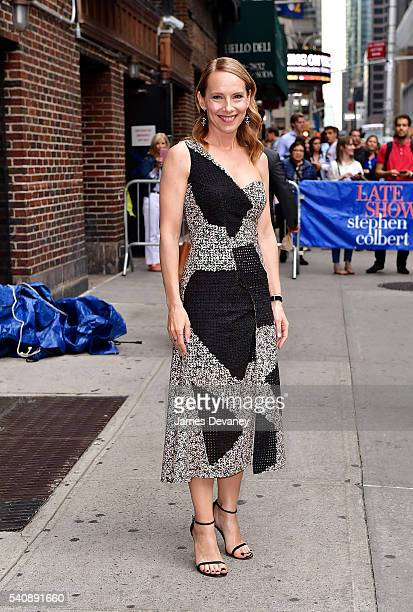 Amy Ryan leaves 'The Late Show With Stephen Colbert' at the Ed Sullivan Theater on June 16 2016 in New York City
