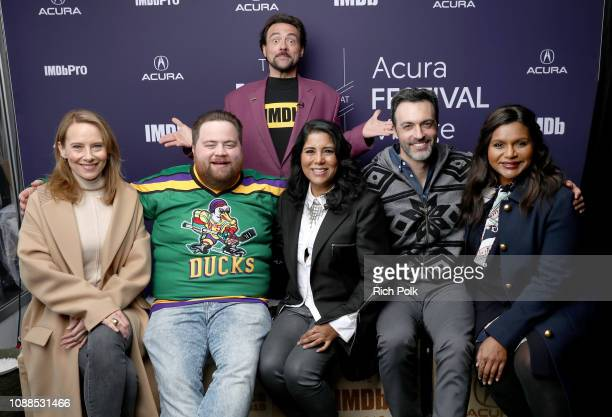Amy Ryan, Paul Walter Hauser, Nisha Gantra, Reid Scott, and Mindy Kaling of 'Late Night' and Kevin Smith attend The IMDb Studio at Acura Festival...