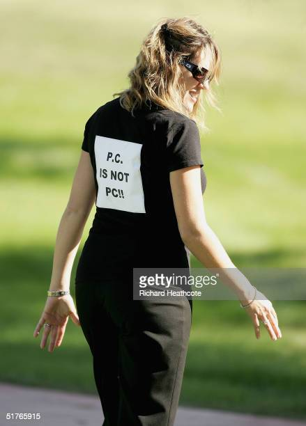 Amy Sabbatini the American wife of South African player Rory Sabbatini wears a tshirt displaying her dislike for Paul Casey's comments about...
