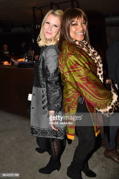 Amy Sacco and Grace Hightower attend The Cinema Society Bluemercury host the after party for IFC Films' 'Freak Show' at Public Arts on January 10...