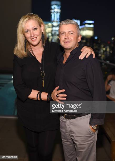 Amy Sacco and guest attend the Fun Mom Dinner After Party at The Jimmy at the James Hotel on August 1 2017 in New York City
