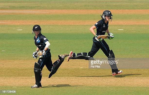 Amy Satterthwaite and Katie Perkins of New Zealand run between the wickets during the 3rd/4th Place PlayOff game between England and New Zealand held...